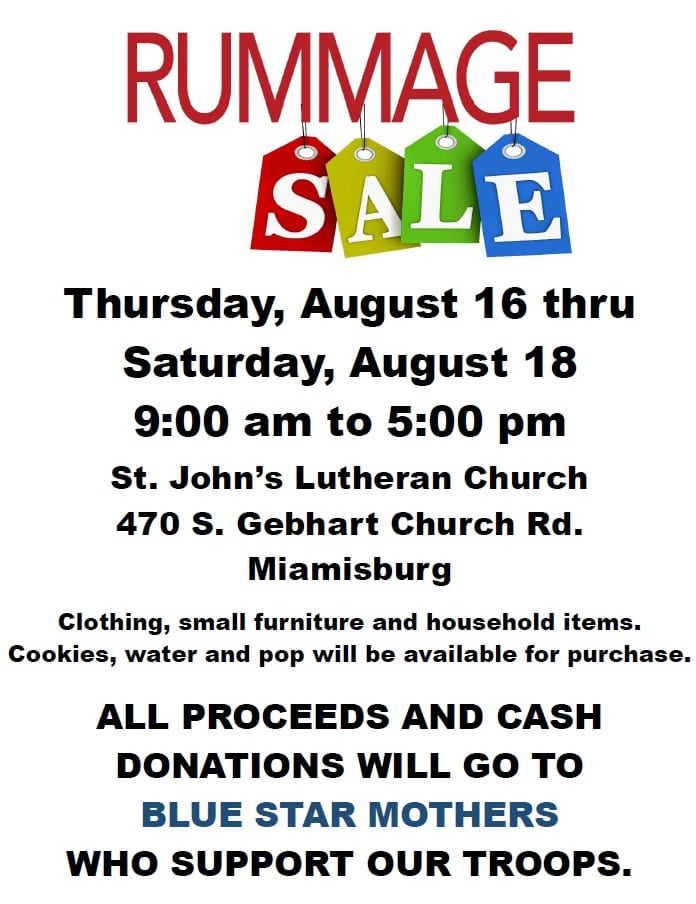 Rummage Sale to Benefit Blue Star Mothers   Blue Star Mothers Dayton