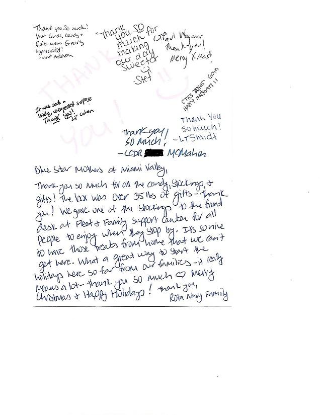 Holiday Thank You Letter from bluestarmothersdayton.com